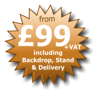 £99 from including  Backdrop, Stand  & Delivery +VAT
